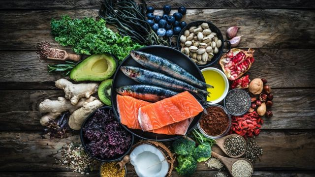 Display of foods rich in vitamin D