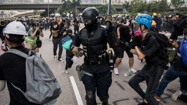 Protesters clash with police after a rally in Kwun Tong on August 24, 2019 in Hong Kong, China.