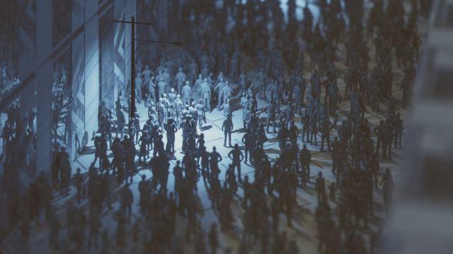 Imagen figurativa de una multitud en un entorno urbano
