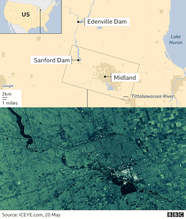 Map and satellite image of the area in Michigan where the dams have burst