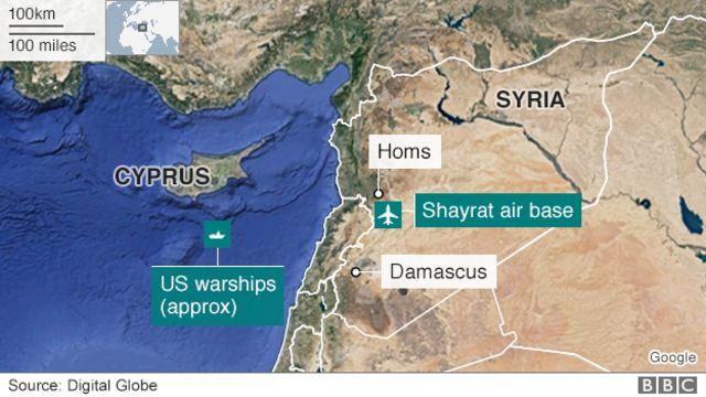 Map showing location of Shayrat air base