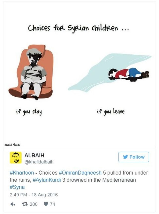 "Tweet by @khalidalbaih on 18 August 2016 saying ""#Khartoon - Choices #OmranDaqneesh 5 pulled from under the ruins, #AylanKurdi 3 drowned in the Mediterranean #Syria"""