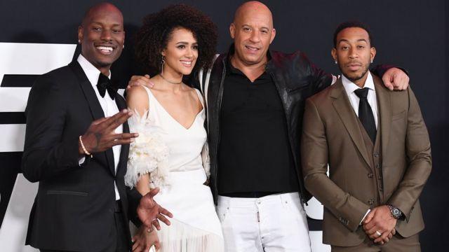 Tyrese Gibson, Nathalie Emmanuell, Vin Diesel y Ludacris