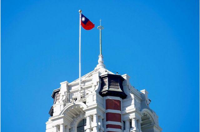 台北总统府塔楼上的台湾国旗
