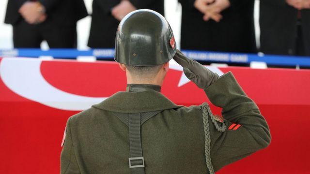 Funderal de un soldado turco muerto en Al-Bab