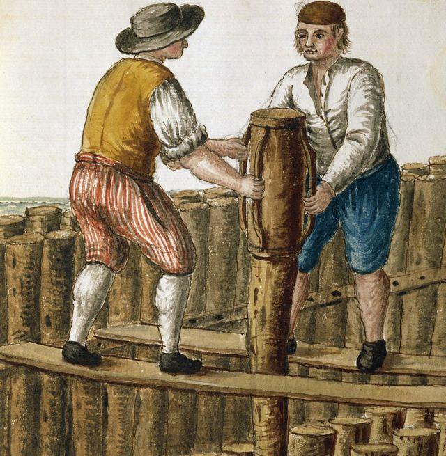 Colocação de cimento sob a fundação de madeira em Veneza, na ilustração de Jan van Grevenbroeck (1731-1807)