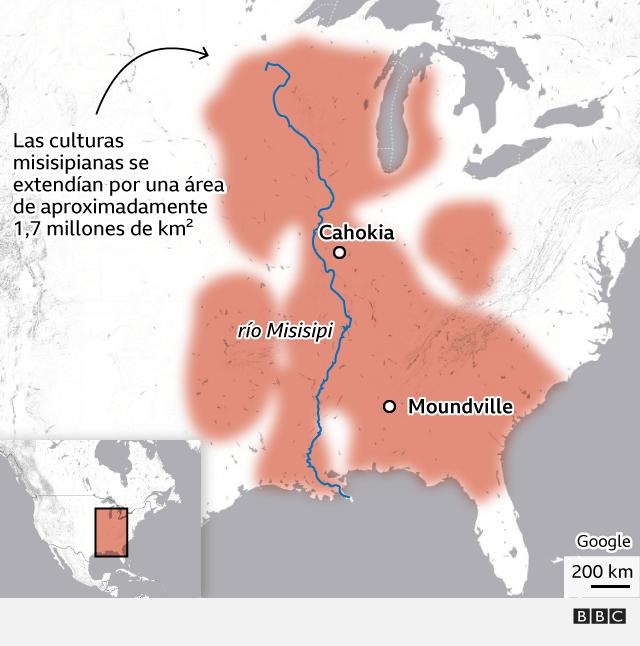 Mapa mostrando la extensión de las culturas misisipianas del mediooeste, el este y el sudeste de lo que sería actualmente EE.UU., llegando hasta la frontera con Canadá.