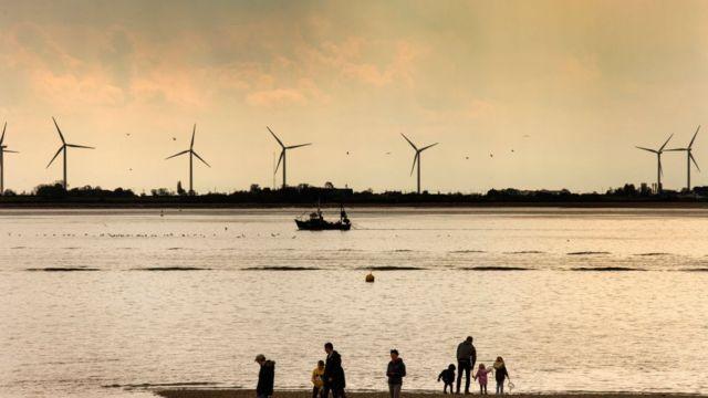 Turbinas de viento en Reino Unido.