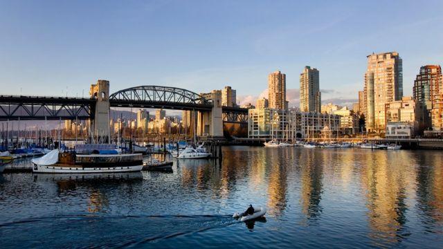Vista panorámica de Vancouver, Canadá.