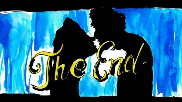Ilustração de um casal em um frame final de um filme