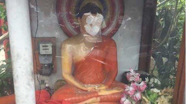 Buddha's statues damaged in Mawanella