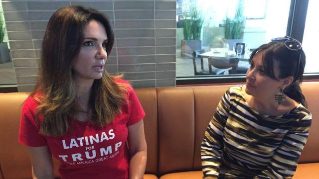 Iliana García y Denise Galvez, organizadoras de Latinas for Trump