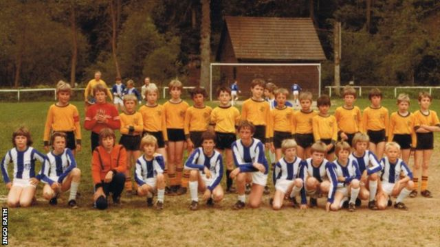 Klopp, pictured lining up for SV Glatten's youth team