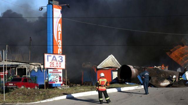 После взрыва на АЗС