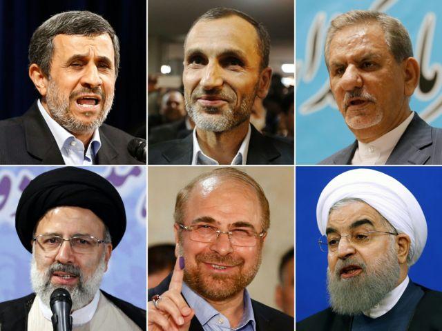 بالا از راست: اسحاق جهانگیری، حمید بقایی، محمود احمدینژاد - پایین از راست: حسن روحانی، محمدباقر قالیباف و ابراهیم رئیسی