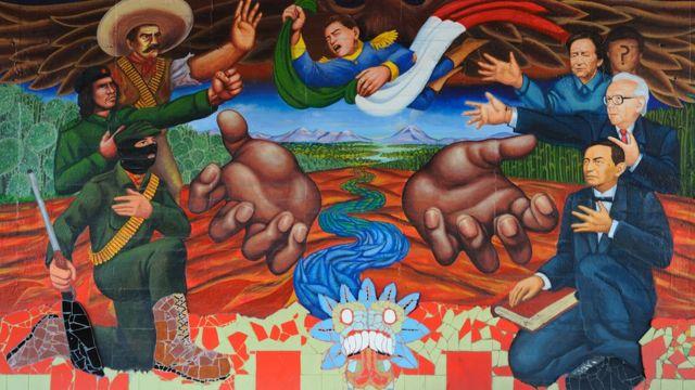 Mural en México en honor a los líderes de la revolución.