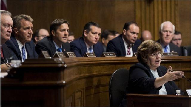 Rachel Mitchell asks questions on behalf of the Republican senators