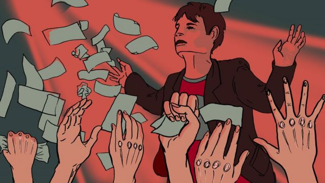 Illustration of man throwing banknotes in a club