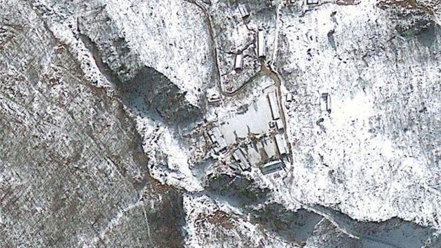 豊渓里の核実験施設を撮影した衛星画像(2013年1月)