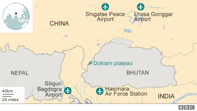 Map showing China and India bases near Doklam plateau
