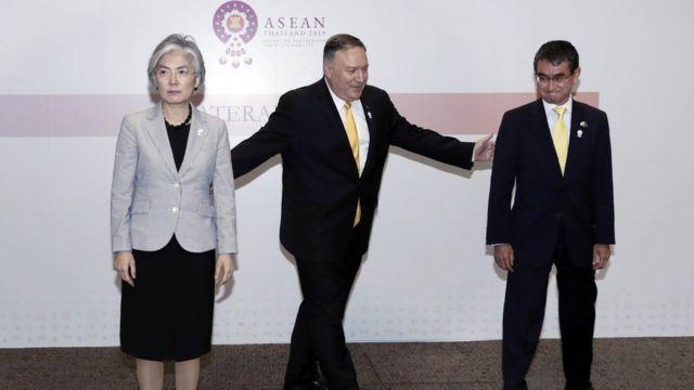 (캡션) 지난 2일 열린 한·미·일 외교장관 회의