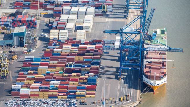 An aerial photograph of The Port of Tilbury