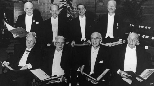 George Wald e outros vencedores do Nobel de 1967