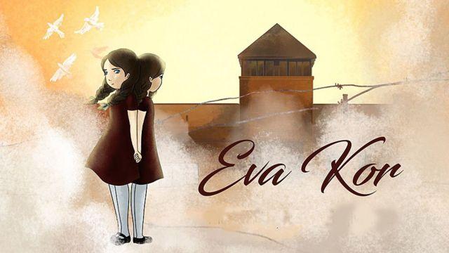 """Las gemelas con Auschwitz en el fondo. Imagen del corto """"Eva Kor, el poder curativo del perdón"""" de BBC Ideas"""