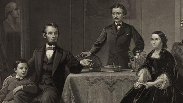 Retrato de Abraham e Mary Lincoln com os filhos
