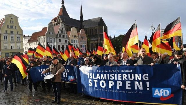 Manifestación callejera de Alianza para Alemania.