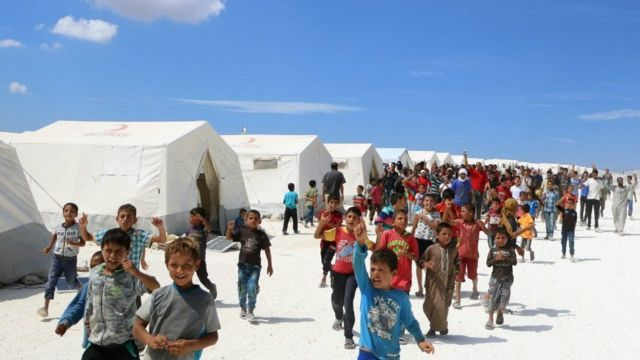 Thousands of people displaced by the civil war are sheltering in camps in Idlib