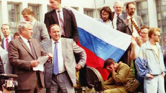 Борис Ельцин и его соратники, 19 августа 1991 года