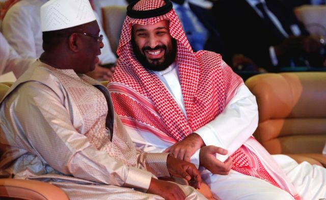 L-R: Senegalese President Macky Sall and Saudi Saudi Crown Prince Mohammed bin Salman sitting side by side in Riyadh, Saudi Arabia - Wednesday 24 October 2018