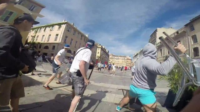 Footage shows the attacks on England supporters in Marseille