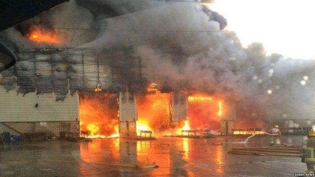 The fire is at the former Brickkiln recycling plant site in Londonderry