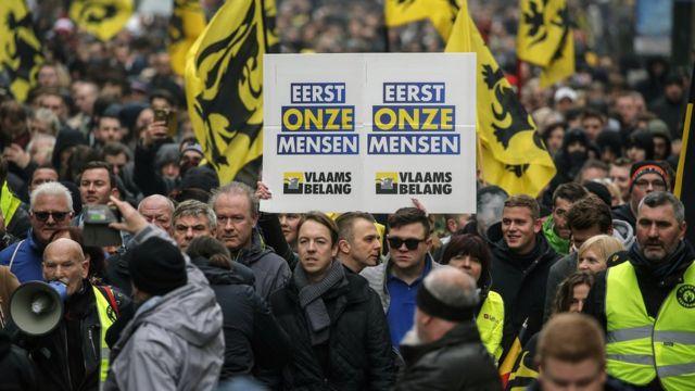 Biểu tình ở Brussels phản đối Hiệp ước toàn cầu về di cư của LHQ