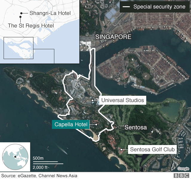 Map showing location of summit on Sentosa in Singapore