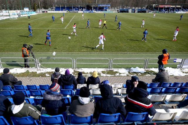 A football match takes place in a league in Belarus