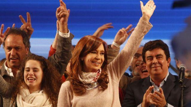 Cristina Fernández de Kirchner anunciado su triunfo.