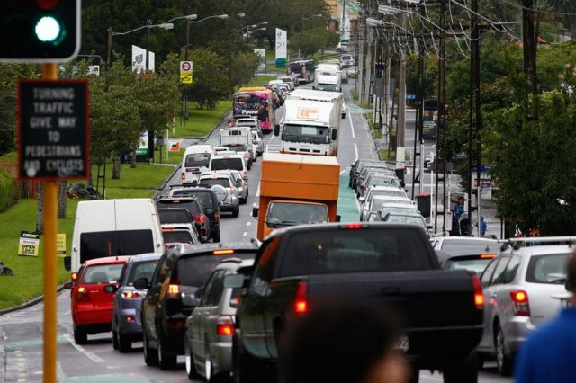 People leave the city early congesting roads before Cyclone Cook is due to reach landfall on 13 April 2017 in Auckland, New Zealand.