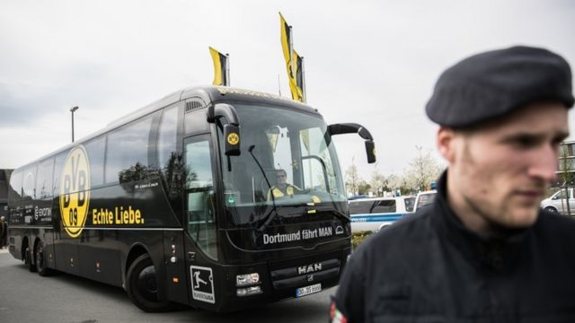 There was a strong police presence as Dortmund arrived for training on Wednesday