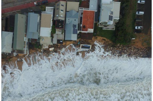 Drone shot shows beach at Collaroy