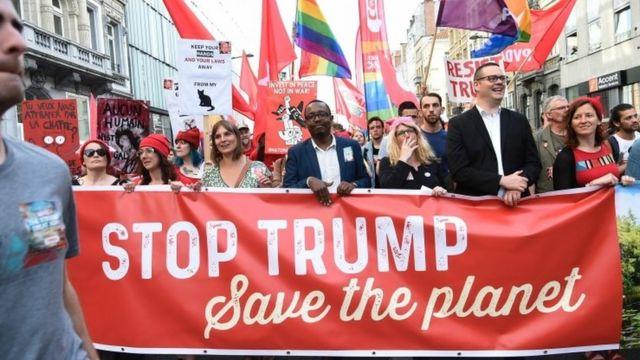 Maandamano ya k,upinga ziara ya Trump Ubelgiji yalifanyika Brussels