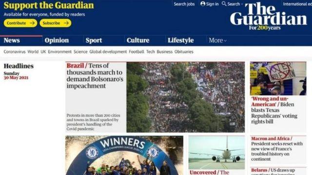 Protestos foram manchete no site do jornal The Guardian