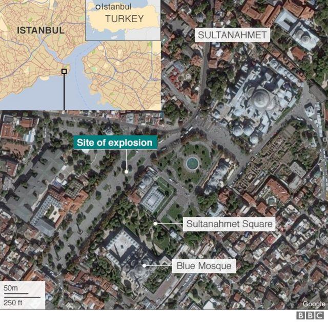 スルタンアフメト地区の空撮写真(緑の印が爆発現場)