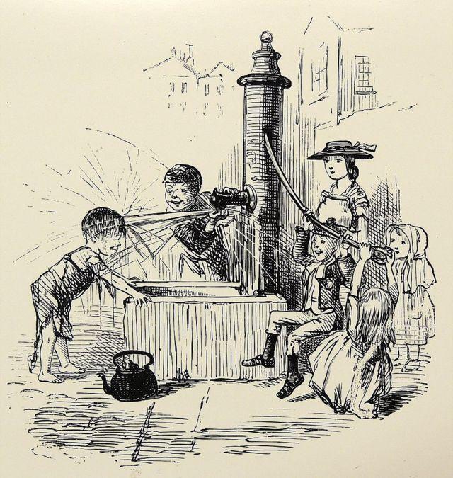 লন্ডনের পাঞ্চ সাময়িকীতে ১৮৫৯ সালে কলেরা নিয়ে প্রকাশিত কার্টুন যাতে আঁকা হয়েছে শিশুরা কলের পাম্পে খেলা করছে