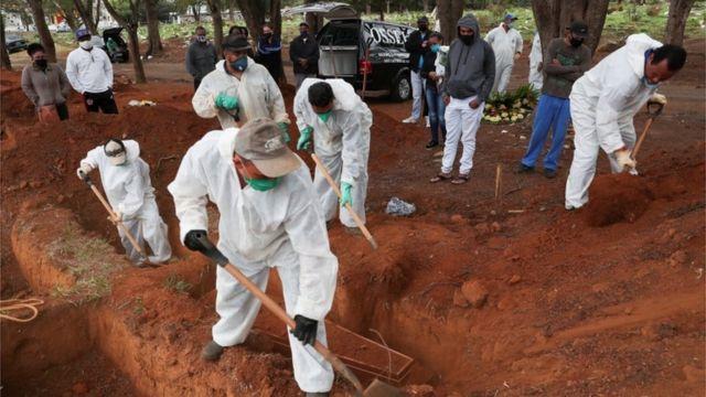 Homens cavam cova em São Paulo pra enterrar mais uma morte de covid