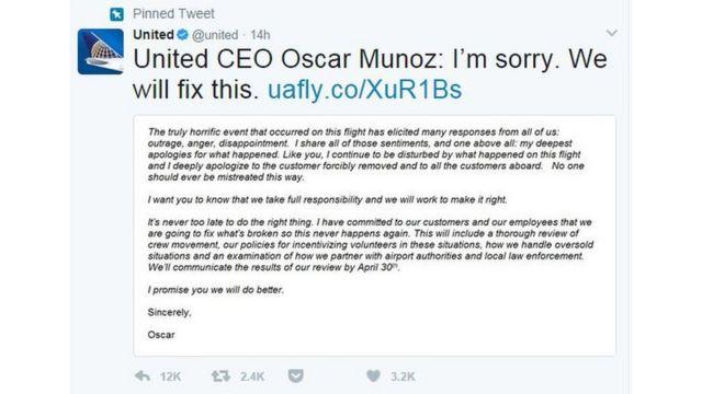 United Airlines açıklaması