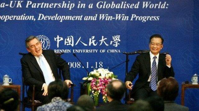 2008年,英国首相布朗与中国总理温家宝