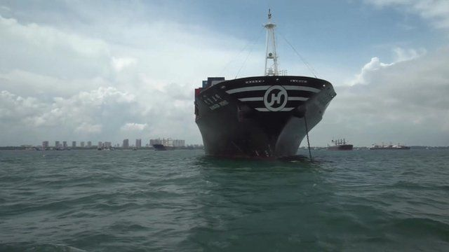 Stranded Hanjin container ship